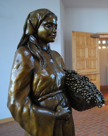 The gathering space with woman statue