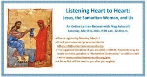 Listening Heart to Heart: Jesus, the Samaritan Woman, and Us @ Online (Zoom)